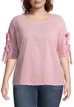 BELLE + SKY Short Sleeve Round Neck Woven Blouse-Plus