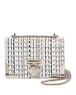 Balmain Box 20 Logo Crossbody Bag, Black/White