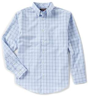 Roundtree & Yorke Travelsmart Long-Sleeve Windowpane Sportshirt