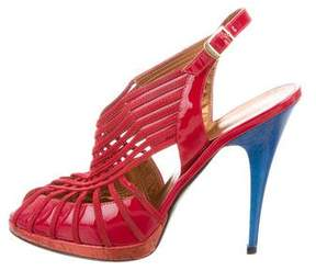 Roberto Cavalli Patent Leather Bicolor Sandals