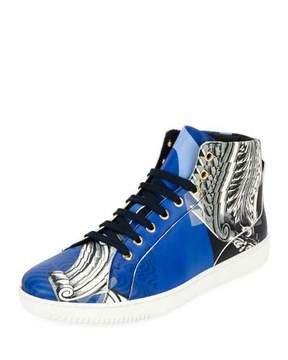 Versace Baroque Collage High-Top Sneaker, Blue/White