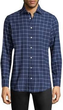 Luciano Barbera Men's Checkered Print Sportshirt