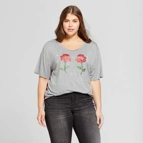 Fifth Sun Women's Plus Size Cool Rose Graphic T-Shirt Gray