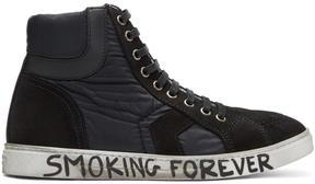 Saint Laurent Black Suede and Nylon Antib High-Top Sneakers