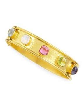 Elizabeth Locke Tutti Frutti Stone-Studded 19k Gold Bangle