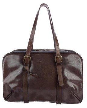 Dries Van Noten Lizard & Canvas Shoulder Bag