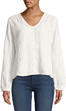 Joan Vass Long-Sleeve Sheer Lace Blouse