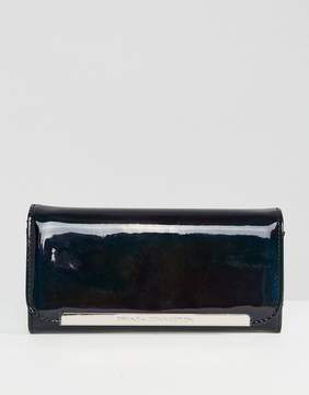 French Connection Black Patent Foldover Purse