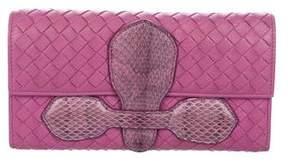 Bottega Veneta Snakeskin-Trimmed Intrecciato Wallet