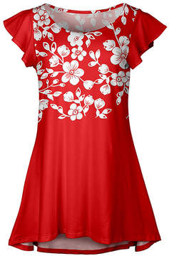 Lily Red & White Blooming Vine Flutter-Sleeve Tunic - Women & Plus
