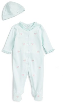 Little Me Infant Girl's Flower Dot Footie & Hat Set
