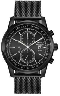 Citizen Eco-Drive Black Ion-Plated Mesh Chronograph Watch