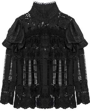 Anna Sui Metallic Chiffon-Paneled Ruffled Guipure Lace Top