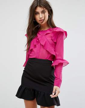 Fashion Union Blouse With Ruffle Layers In Sheer Fabric