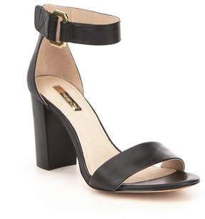 Louise et Cie Kai Leather Banded Ankle Strap Block Heel Sandals
