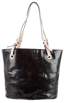 MICHAEL Michael Kors Leather-Trimmed Monogram Tote - BLACK - STYLE