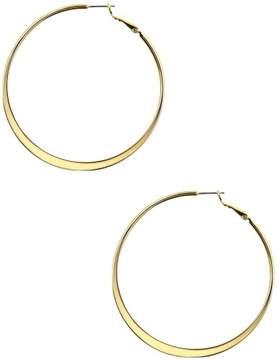 Nine West Gold Tone Large Flat Hoop Earrings