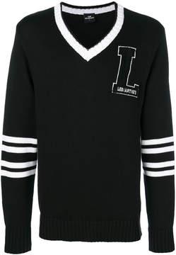 Les (Art)ists striped sleeve v-neck