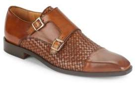 Saks Fifth Avenue Woven Leather Monk Strap Shoes