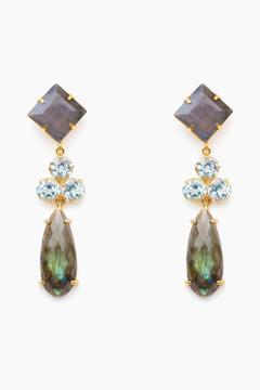 Bounkit Labradorite & Blue Quartz Convertible (4-Way) Drop Earrings