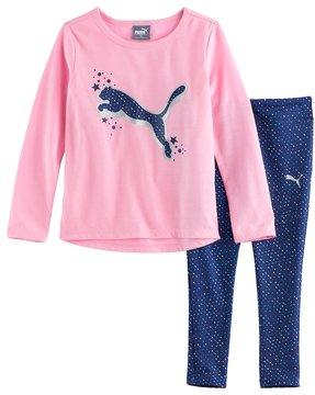 Puma Girls 4-6x Foil Graphic Tee & Print Leggings Set