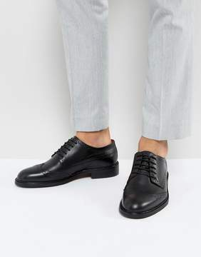 Selected Baxter Leather Brogue Shoes In Black