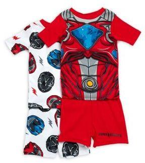 AME Sleepwear Little Boy's & Boy's Power Rangers Printed Four-Piece Set