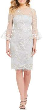 David Meister Embroidered Cocktail Dress with a Soft Blue Lining