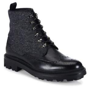 Giorgio Armani Mixed-Media Wingtip Leather Boots