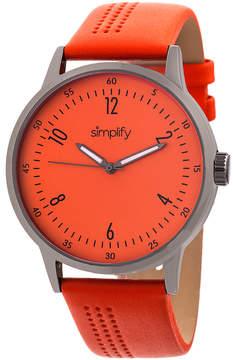 Simplify Gunmetal & Orange The 5700 Leather-Strap Watch