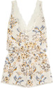 Stella McCartney - Poppy Snoozing Lace-trimmed Floral-print Stretch-silk Crepe De Chine Playsuit - Cream