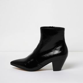 River Island Womens Black pointed toe patent western heel boots