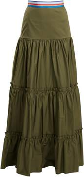 Stella Jean Tiered cotton-blend maxi skirt