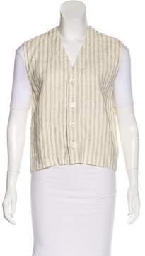 eskandar Striped Button-Up Vest