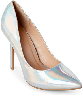Wild Diva Silver Holographic Adora Pointed Toe Pumps