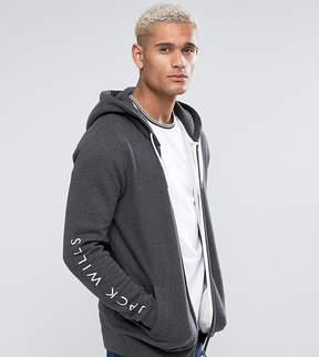 Jack Wills Granville Zip Through Hoodie With Sleeve Print In Gray