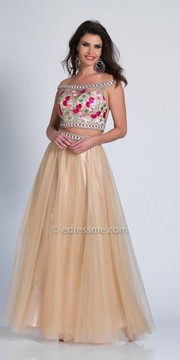 Dave and Johnny Off the Shoulder Embellished Two Piece Prom Dress