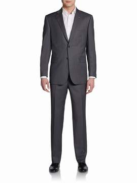 Saks Fifth Avenue BLACK Men's Classic-Fit Striped Two-Button Wool & Silk Suit
