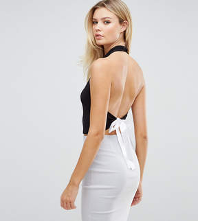 Asos Tall TALL EXCLUSIVE Halter Neck Top With Cowl Front And Tie Back