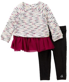 Calvin Klein Boucle Tunic with Tulle Bottom & Jegging Set (Toddler Girls)