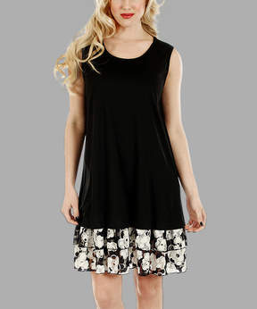 Lily Black & White Floral Tiered Shift Dress - Women