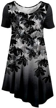 Azalea Silver & Black Floral Crewneck Tunic - Women & Plus