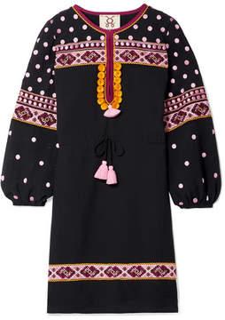 Figue Savannah Tasseled Embroidered Cotton-blend Voile Mini Dress - Black
