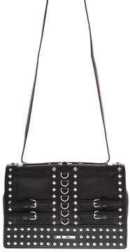 Love Moschino Black Faux Leather Shoulder Bag With Metal Studs And Buckles