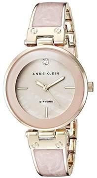 Anne Klein Goldtone Diamond-Accented Light Pink Bezel Bracelet Watch