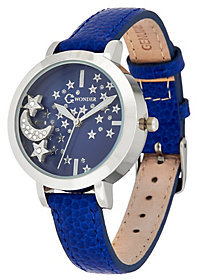 C. Wonder As Is Leather Watch with Floating Charms