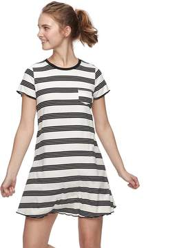 Love, Fire Love Fire Juniors' Printed Ribbed Pocket Tee Dress