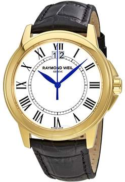 Raymond Weil Tradition White Dial Black Leather Men's Watch