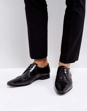 Jeffery West Escobar Brogue Leather Shoes In Black