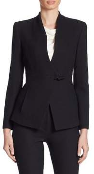 Armani Collezioni Textured Stretch Wool Wrap Jacket